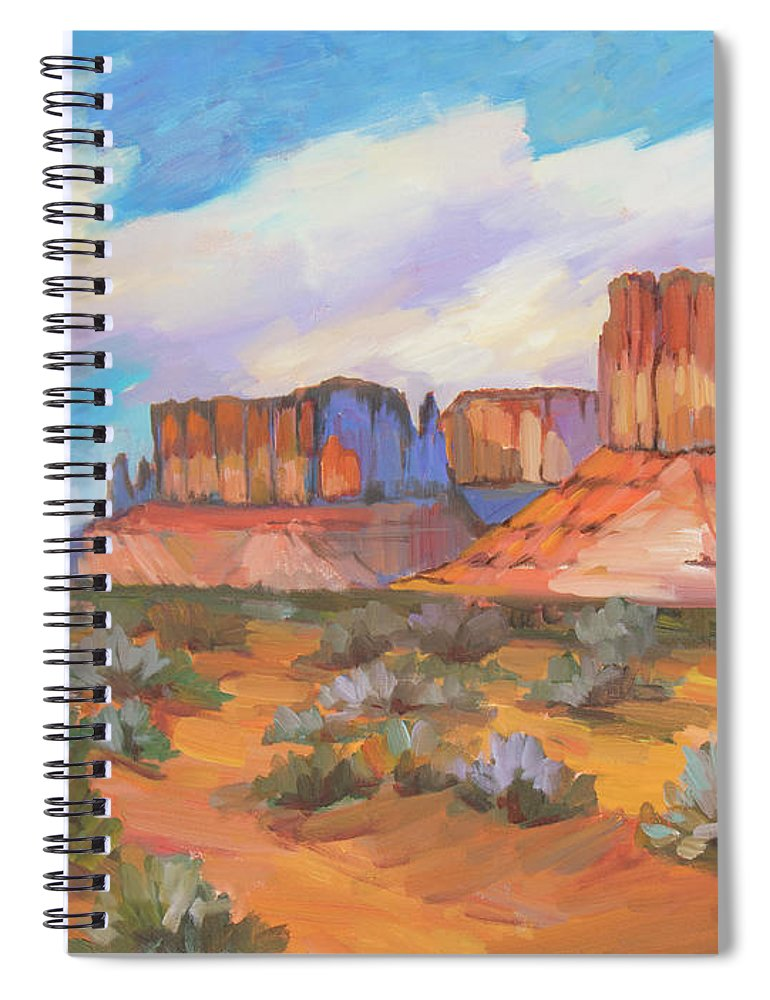 Monument Valley Spiral Notebook featuring the painting Clouds Passing Monument Valley by Diane McClary