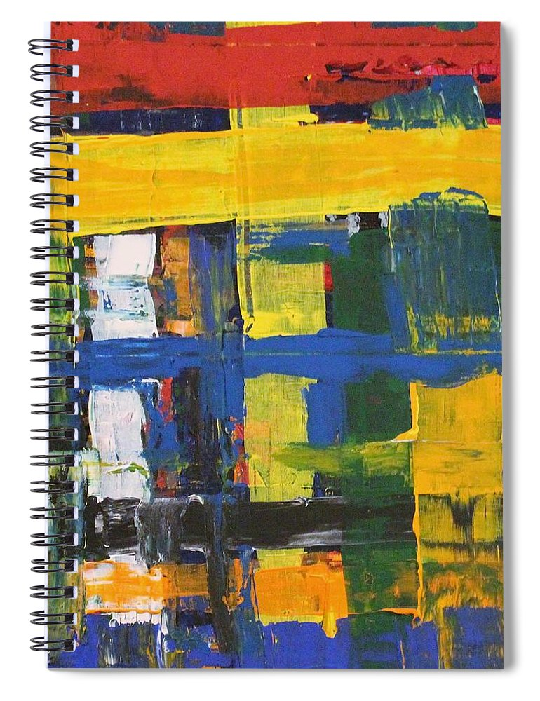 Red Spiral Notebook featuring the painting Club House by Pam Roth O'Mara