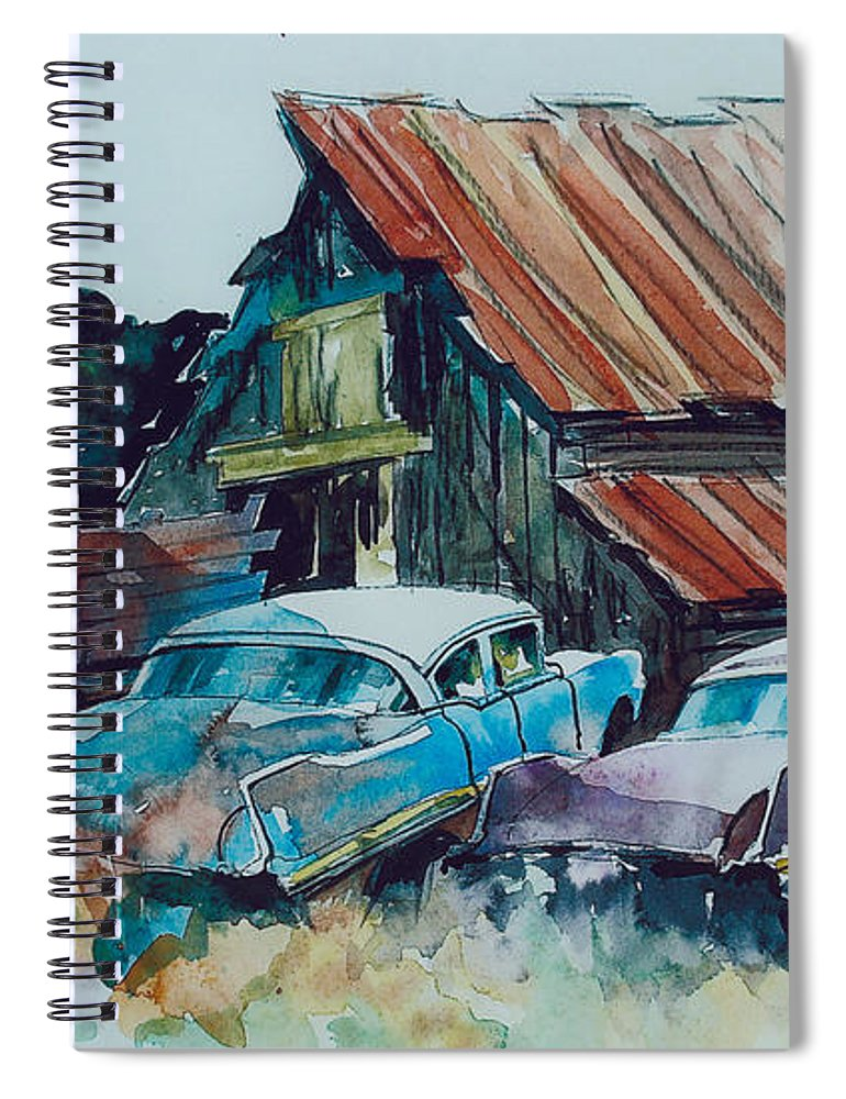 Ford Cabover Spiral Notebook featuring the painting Cluster of Restorables by Ron Morrison