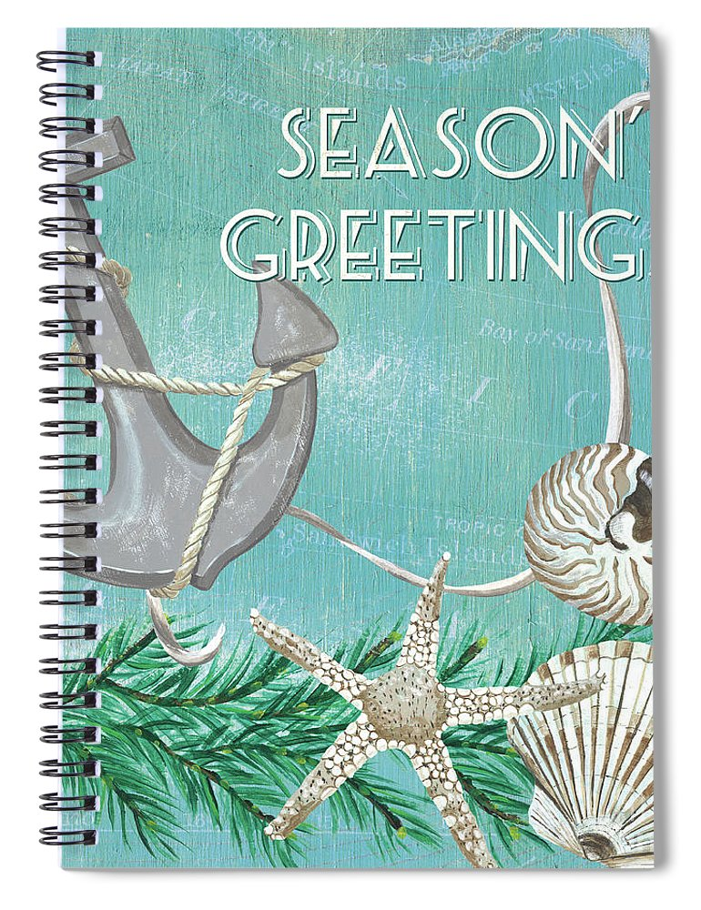 Anchor Spiral Notebook featuring the painting Coastal Christmas 4 by Debbie DeWitt