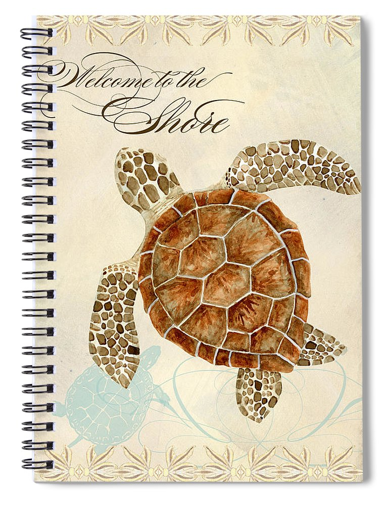 Watercolor Spiral Notebook featuring the painting Coastal Waterways - Green Sea Turtle by Audrey Jeanne Roberts