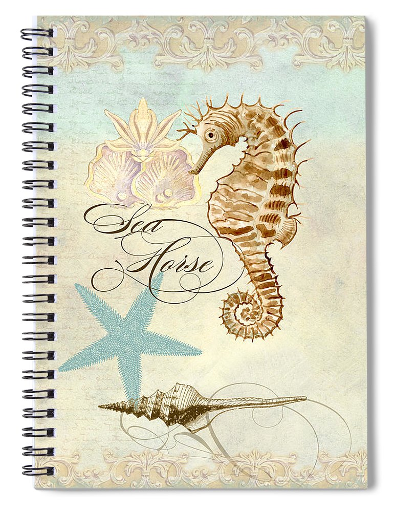 Watercolor Spiral Notebook featuring the painting Coastal Waterways - Seahorse Rectangle 2 by Audrey Jeanne Roberts