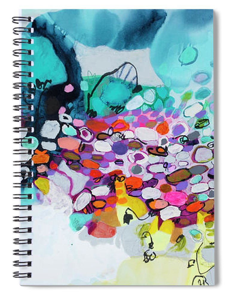 Abstract Spiral Notebook featuring the painting Cobblestones Of San Miguel by Claire Desjardins