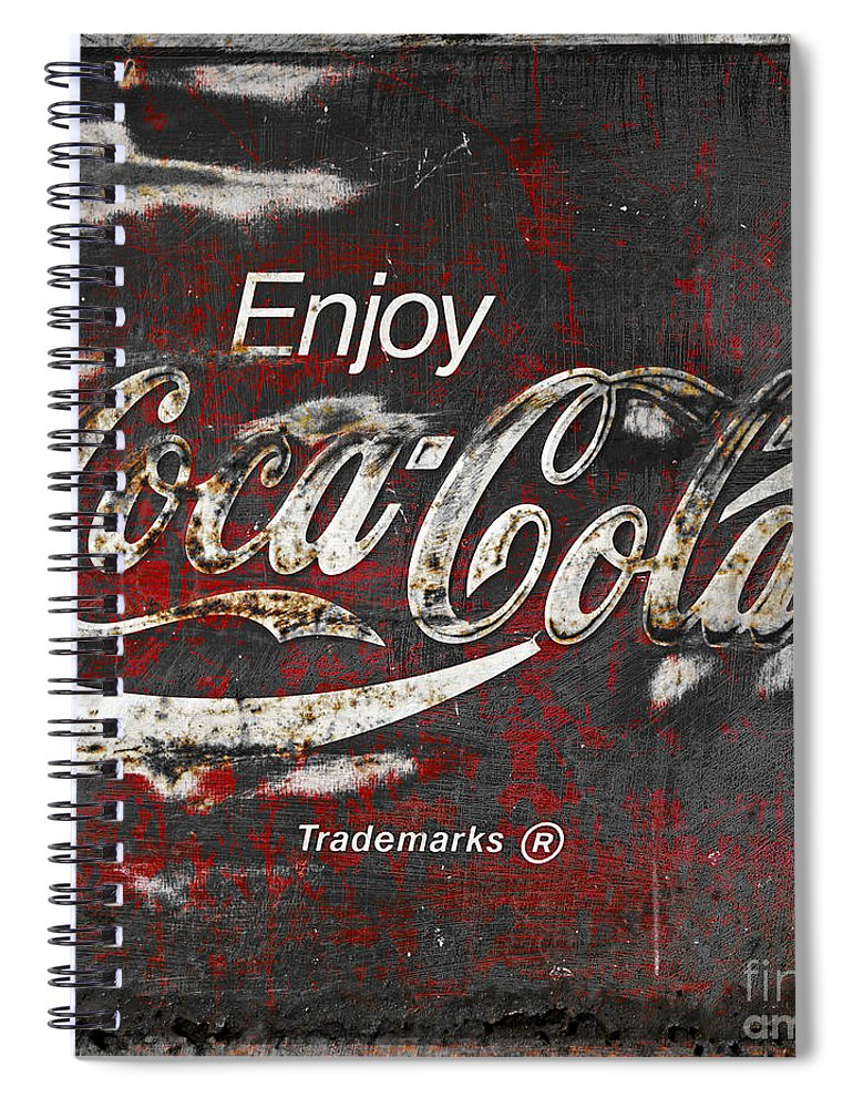 Coca Cola Spiral Notebook featuring the photograph Coca Cola Grunge Sign by John Stephens