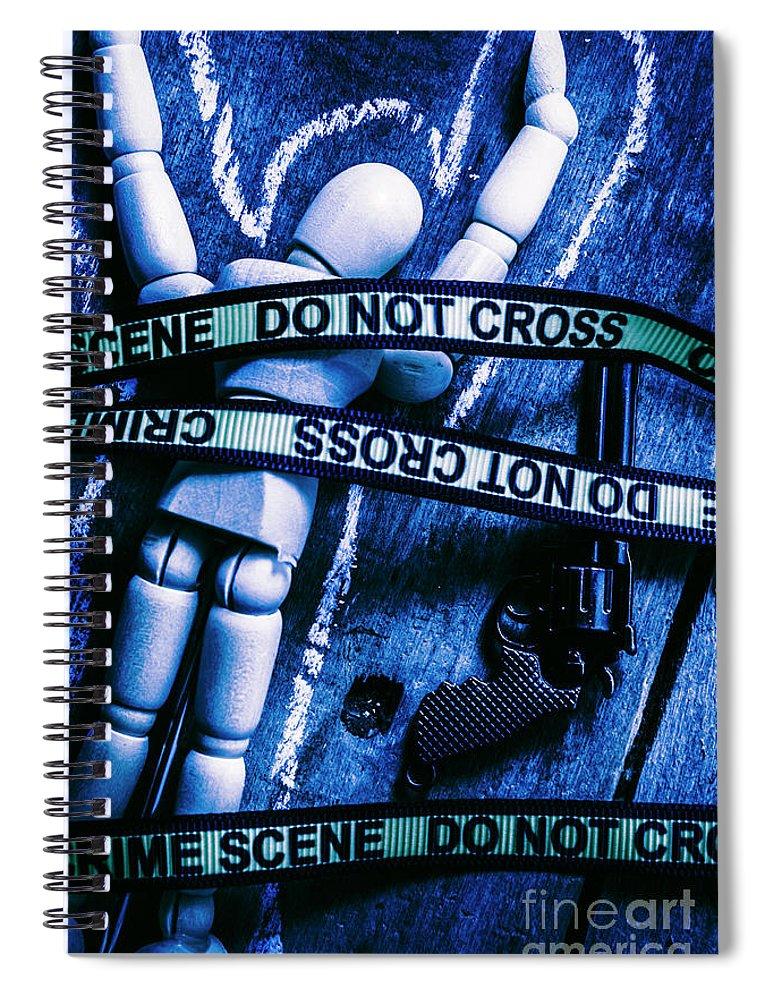 Gun Spiral Notebook featuring the photograph Code Blue Csi by Jorgo Photography - Wall Art Gallery
