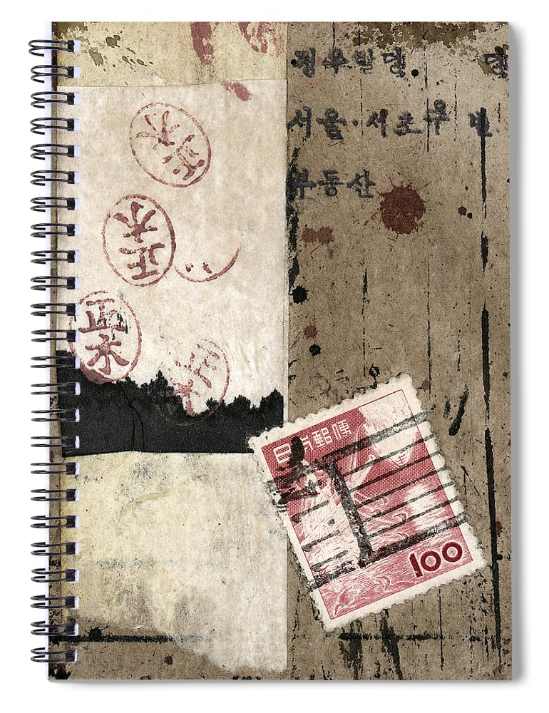 Collage Spiral Notebook featuring the mixed media Collage Envelope Detail Hanko by Carol Leigh