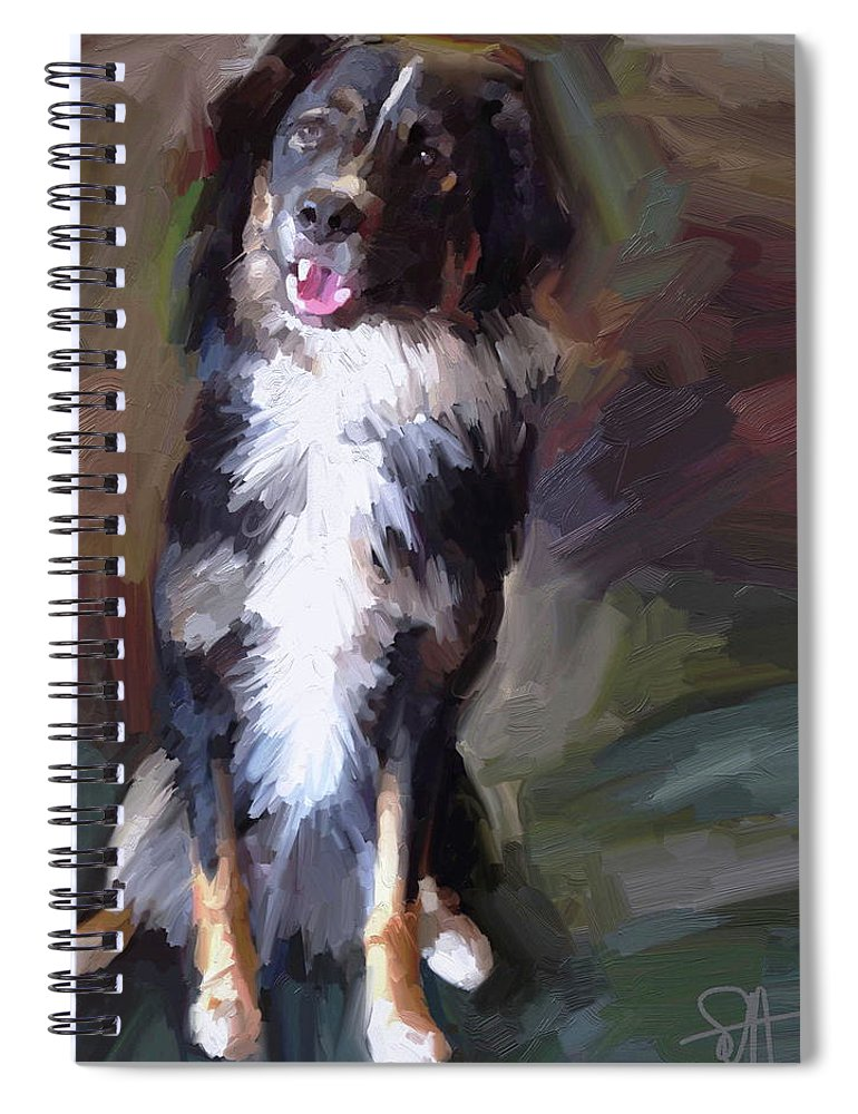 Border Spiral Notebook featuring the digital art Smile by Scott Waters