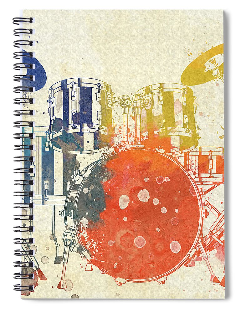 Colorful Drum Set Spiral Notebook featuring the painting Colorful Drum Set by Dan Sproul