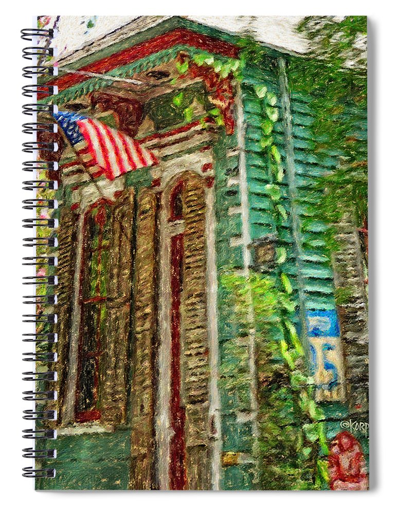 Colorful New Orleans Shotgun House American Flag Spiral Notebook For