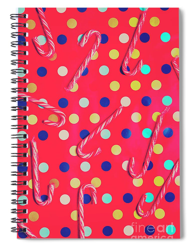 Christmas Spiral Notebook featuring the photograph Colorful Pepermint Candy Canes by Jorgo Photography - Wall Art Gallery