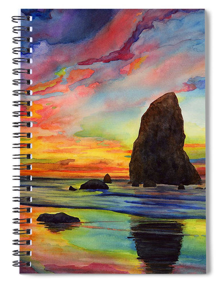 Sunset Spiral Notebook featuring the painting Colorful Solitude by Hailey E Herrera