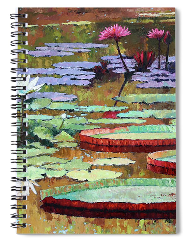 Garden Pond Spiral Notebook featuring the painting Colors on the Lily Pond by John Lautermilch