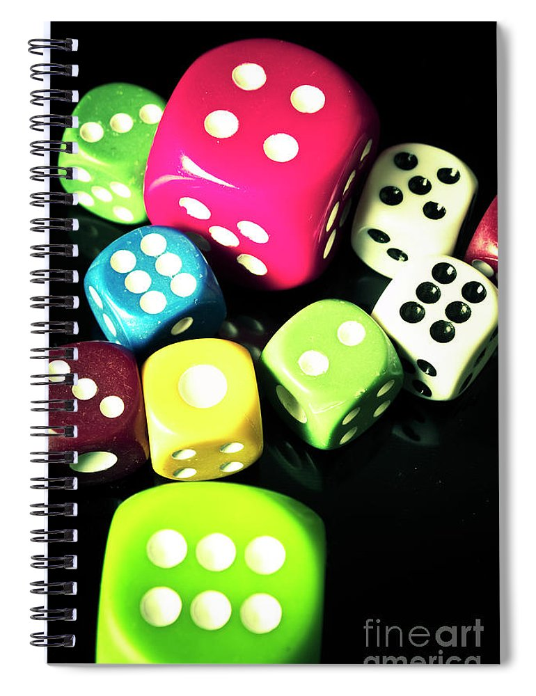 Casino Spiral Notebook featuring the photograph Colourful Casino Dice by Jorgo Photography - Wall Art Gallery