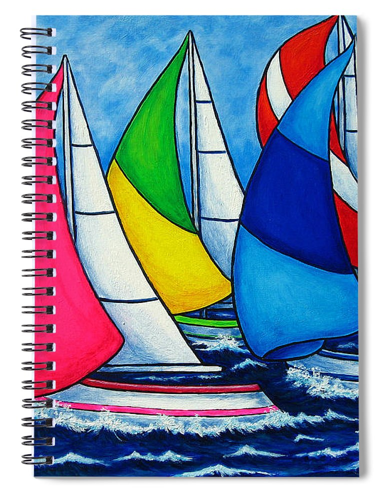 Boats Spiral Notebook featuring the painting Colourful Regatta by Lisa Lorenz