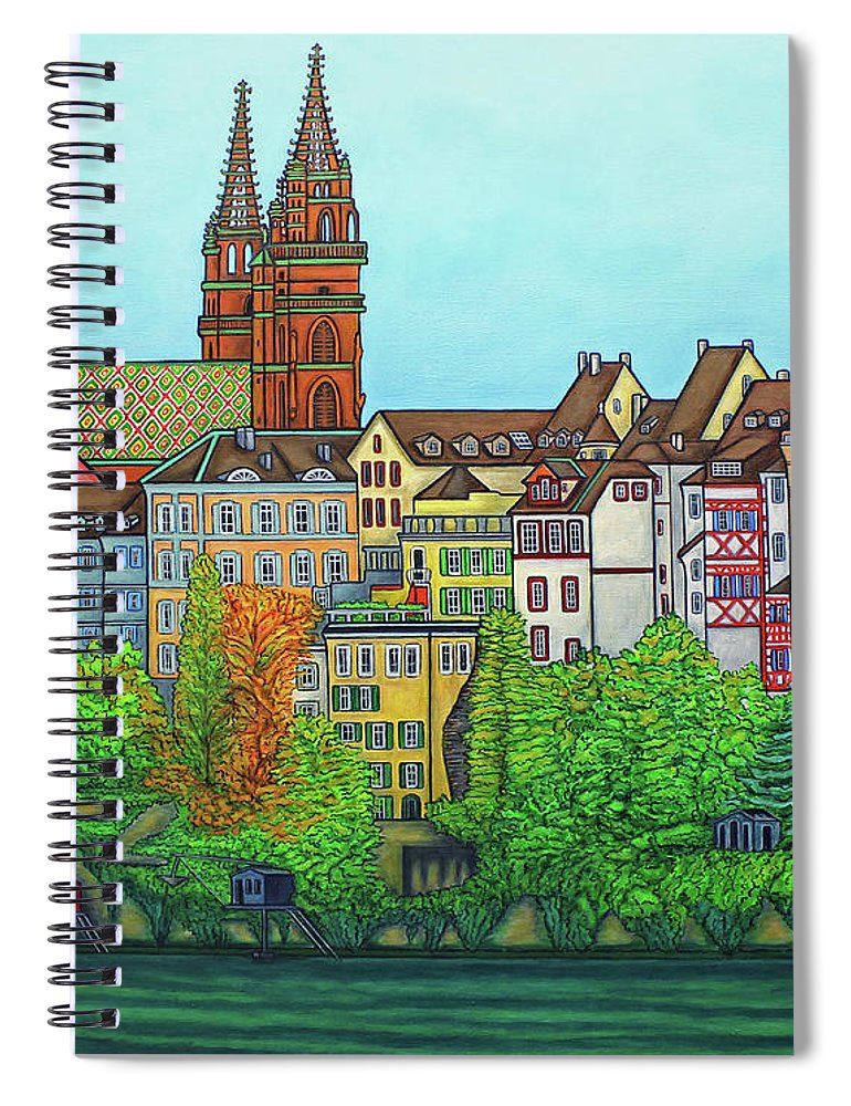Lisa Lorenz Spiral Notebook featuring the painting Basel, Colours of Basel by Lisa Lorenz