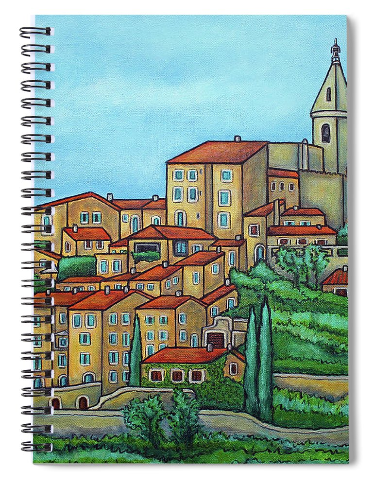 Provence Spiral Notebook featuring the painting Colours of Crillon-le-Brave, Provence by Lisa Lorenz