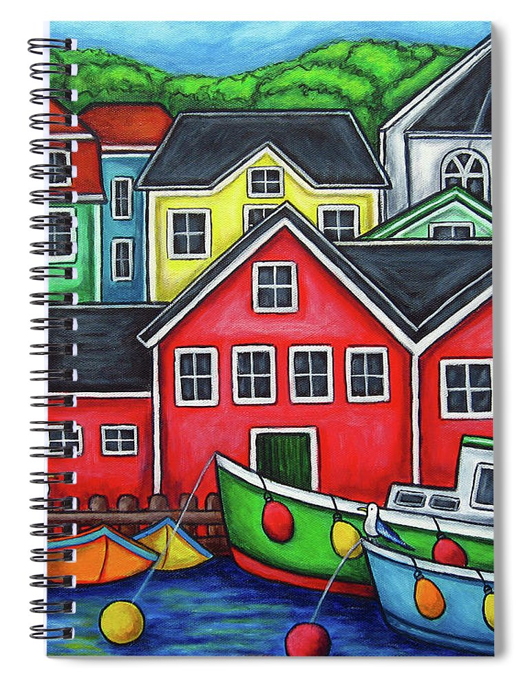 Nova Scotia Spiral Notebook featuring the painting Colours of Lunenburg by Lisa Lorenz