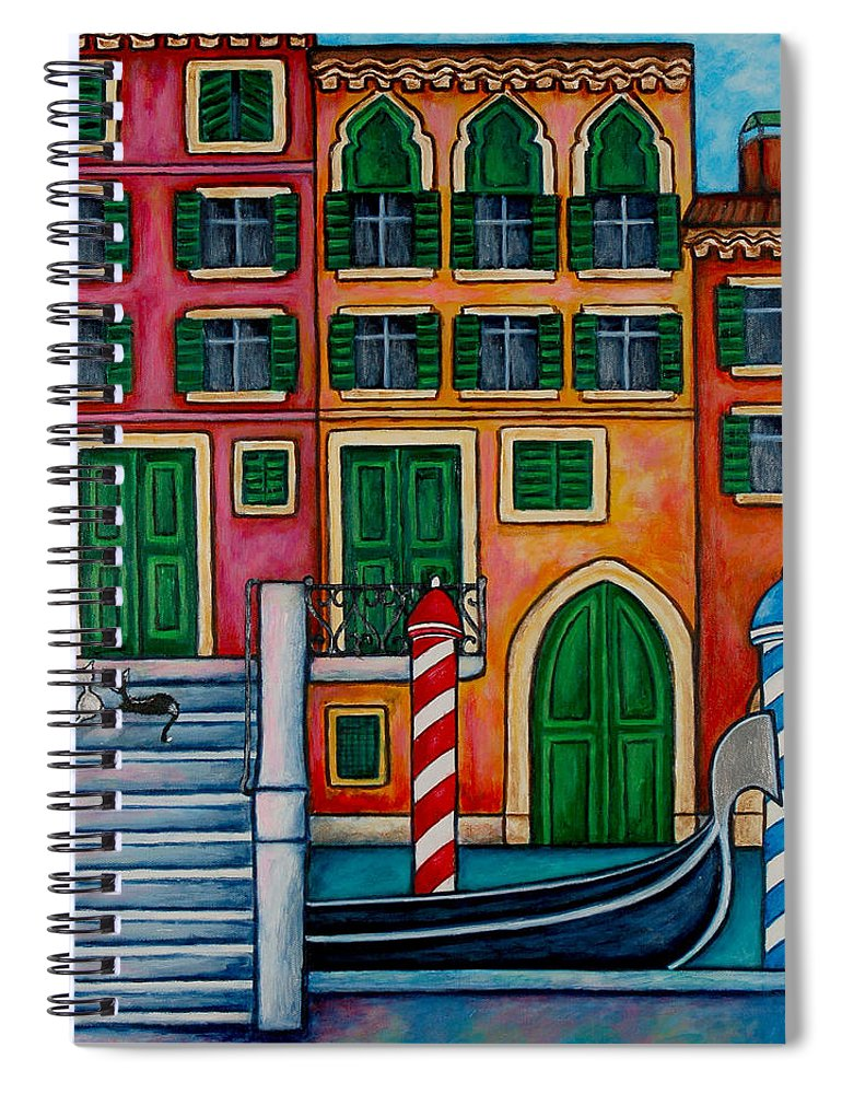 Italy Spiral Notebook featuring the painting Colours of Venice, Italy by Lisa Lorenz
