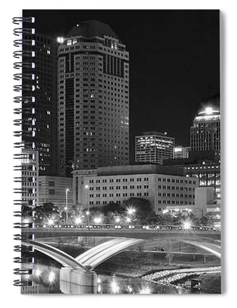 Columbus Spiral Notebook featuring the photograph Columbus Panoramic Black And White Night by Frozen in Time Fine Art Photography