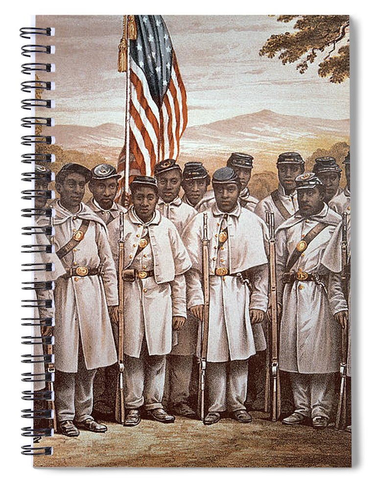 Recruitment; American Civil War; Volunteer; Soldiers; Soldier; Army; Uniform; Flag; Stars And Stripes; General; Drummer; Negro; African-american; Us; Usa; Recruiting; Advertisement; Advert; Propaganda; African American Spiral Notebook featuring the painting 'come And Join Us Brothers' by American School