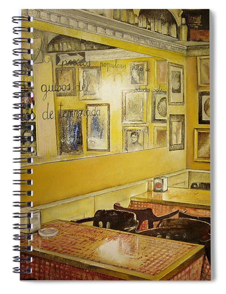 Interior Spiral Notebook featuring the painting Comedor interior by Tomas Castano