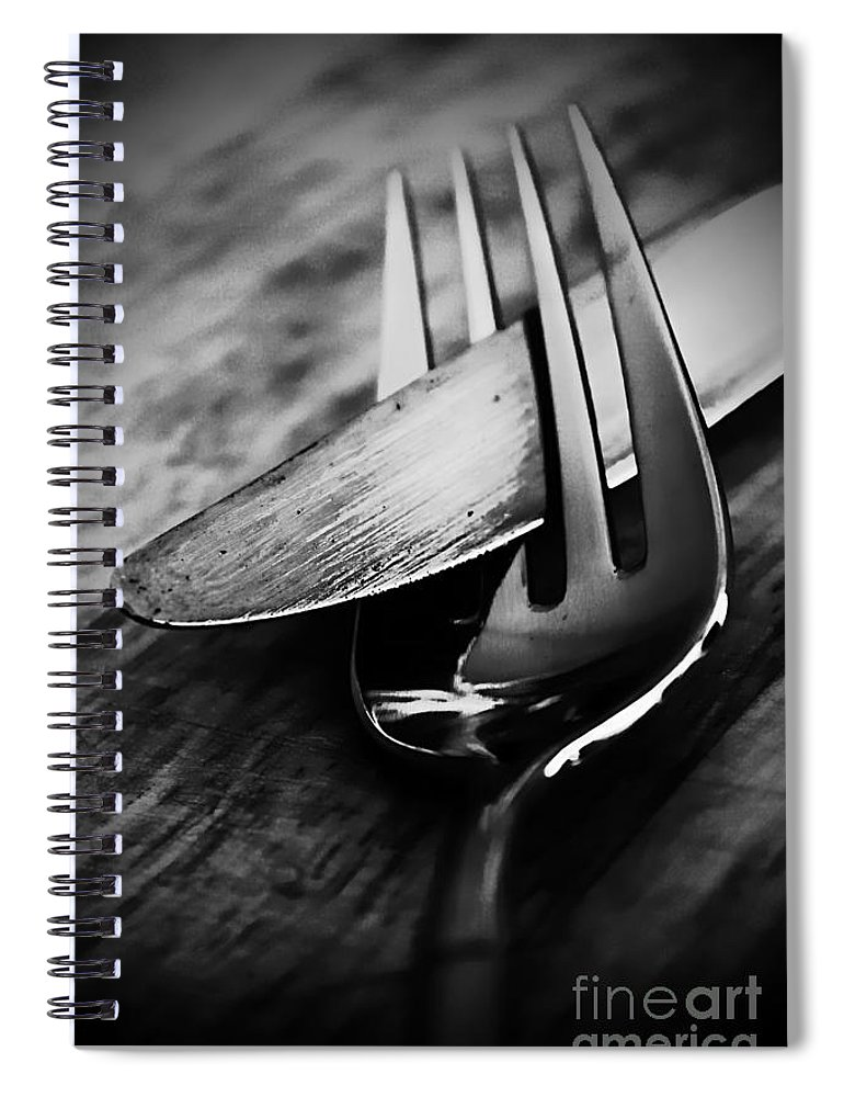 Knife Spiral Notebook featuring the photograph Comes As A Pair 2 by Clare Bevan