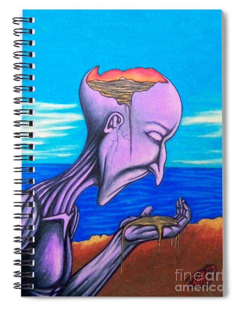 Michael Spiral Notebook featuring the drawing Conscious Thought by Michael TMAD Finney