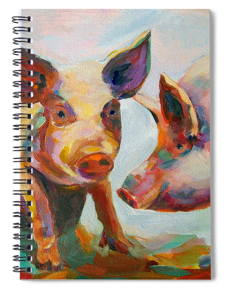 Pigs Spiral Notebook featuring the painting Consultation by Naomi Gerrard