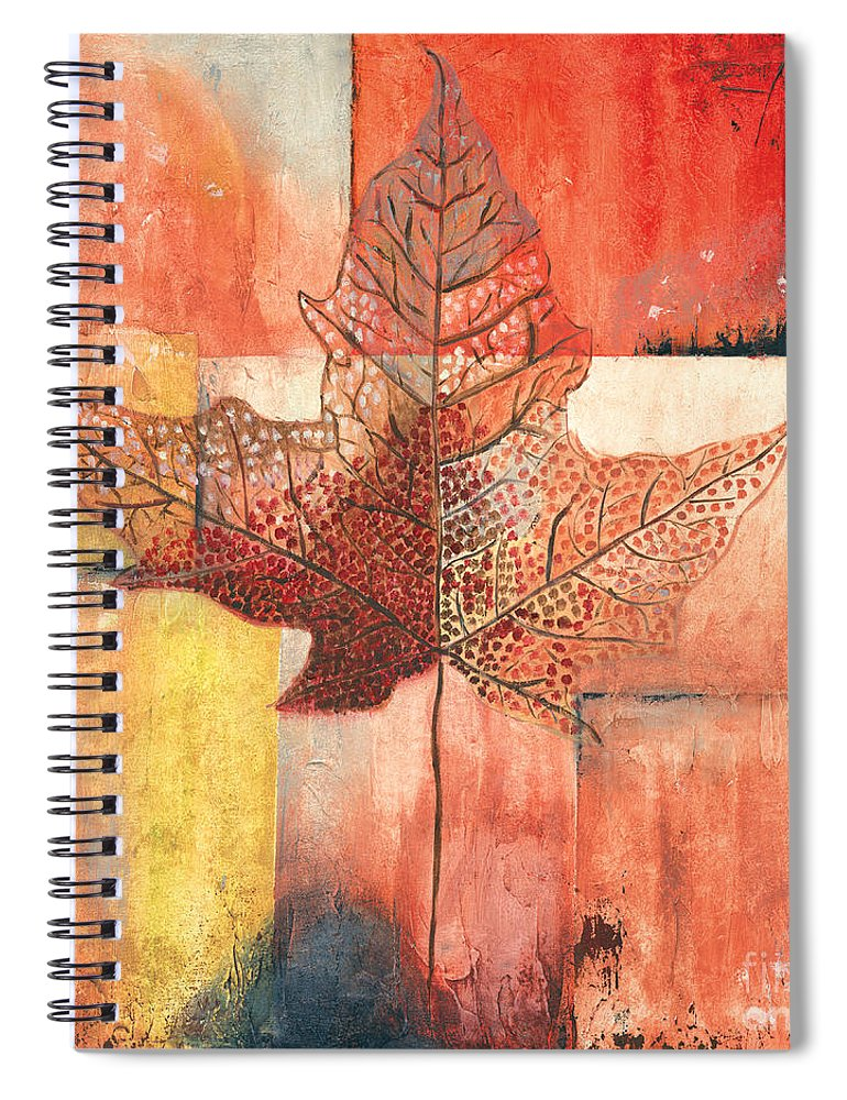Contemporary Spiral Notebook featuring the painting Contemporary Leaf 2 by Debbie DeWitt