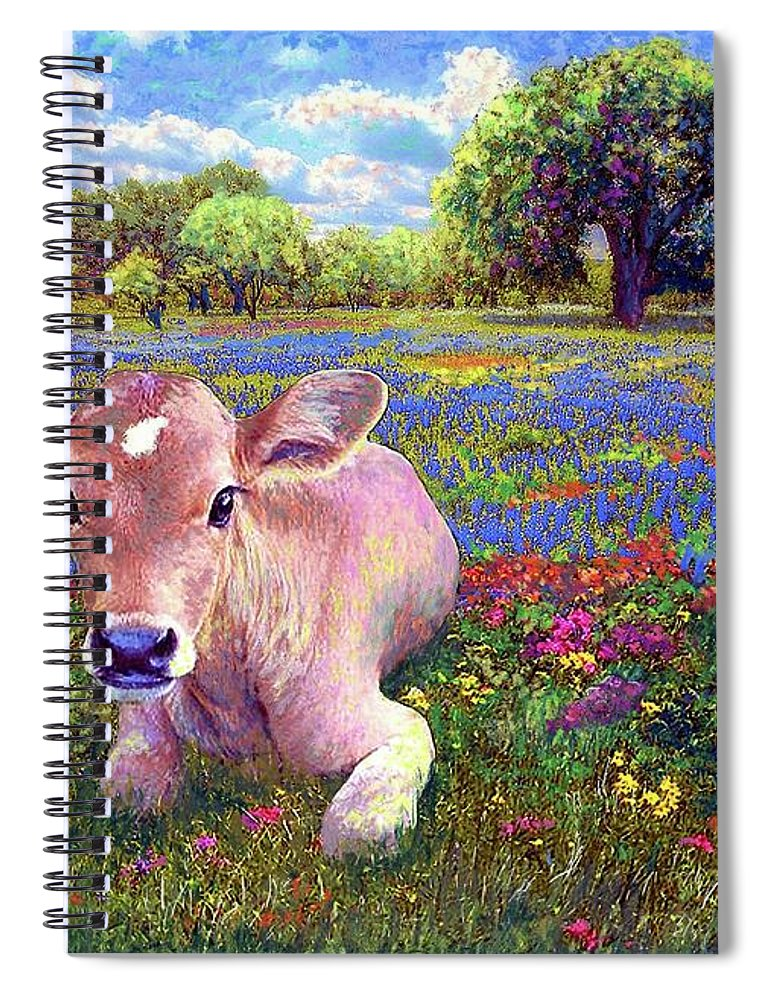 Meadow Spiral Notebook featuring the painting Contented Cow In Colorful Meadow by Jane Small