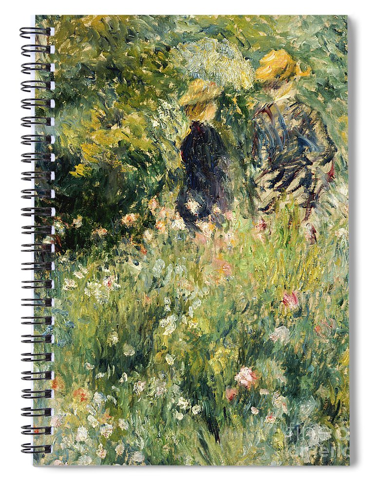 Impressionism; Impressionist; Female; Talking; Flower; Plant; Conversation In A Rose Garden Spiral Notebook featuring the painting Conversation In A Rose Garden by Pierre Auguste Renoir
