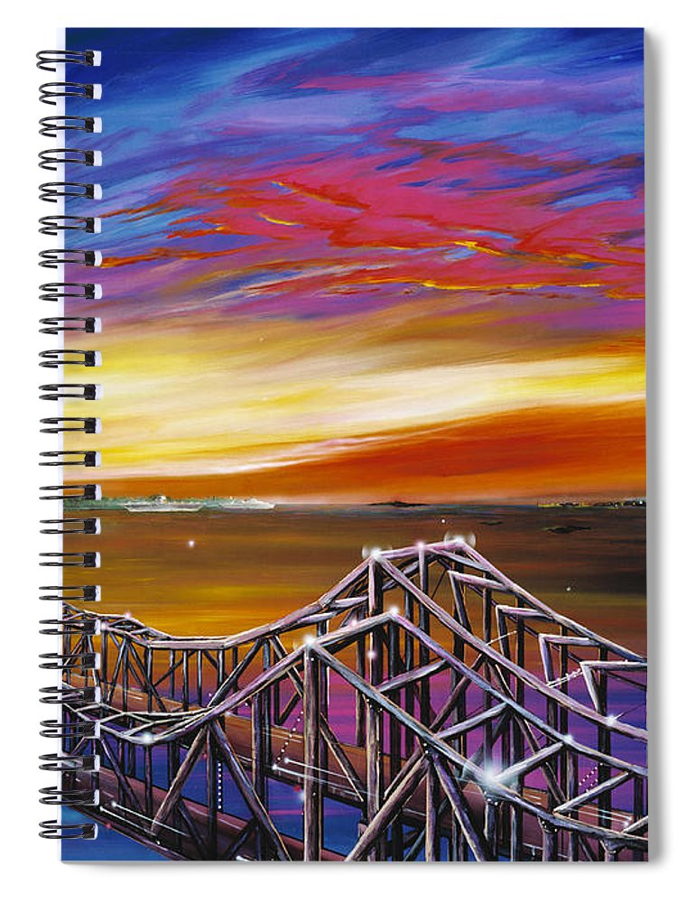 Clouds Spiral Notebook featuring the painting Cooper River Bridge by James Christopher Hill