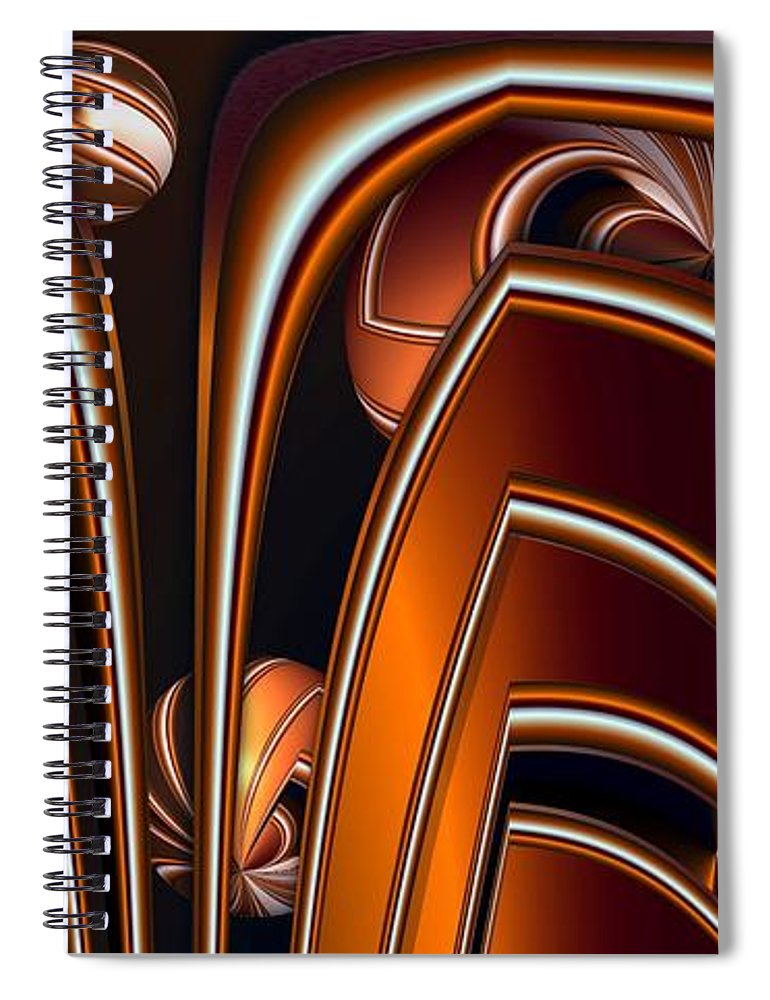 Abstract Spiral Notebook featuring the digital art Copper Shields by Ron Bissett