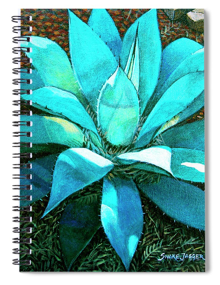Cactus Spiral Notebook featuring the painting Corkscrew by Snake Jagger
