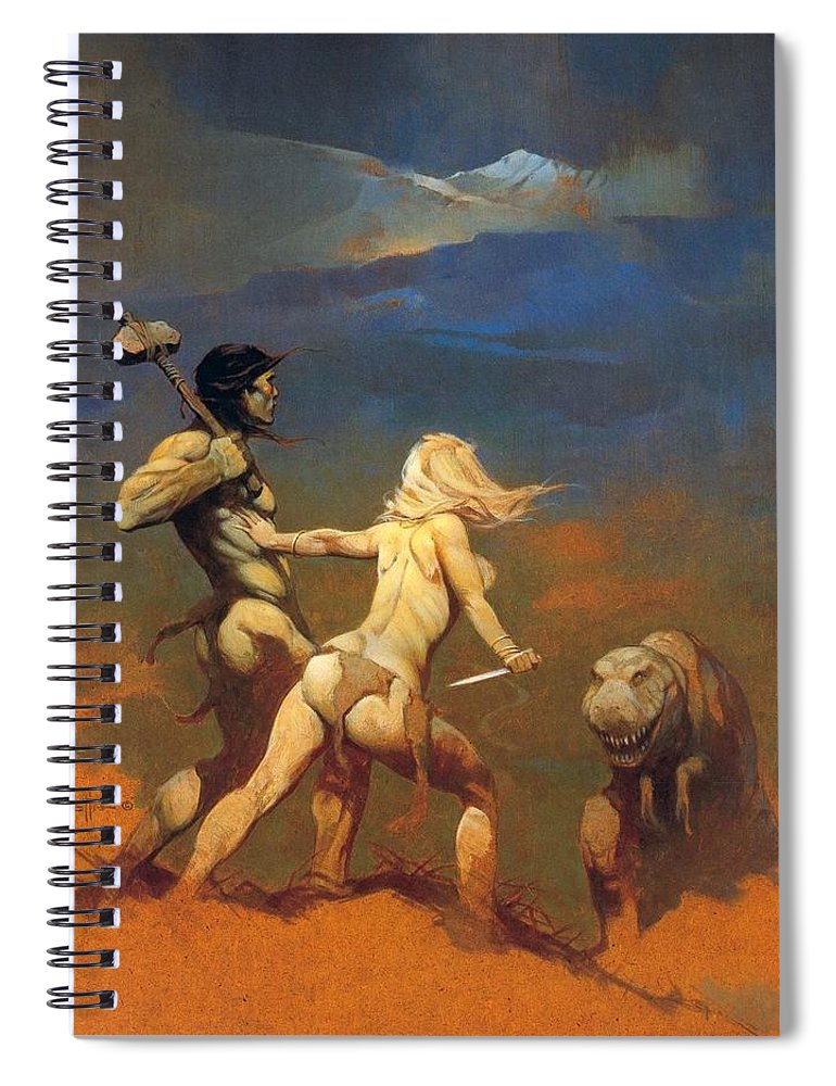 Frank Frazetta Spiral Notebook featuring the painting Cornered by Frank Frazetta