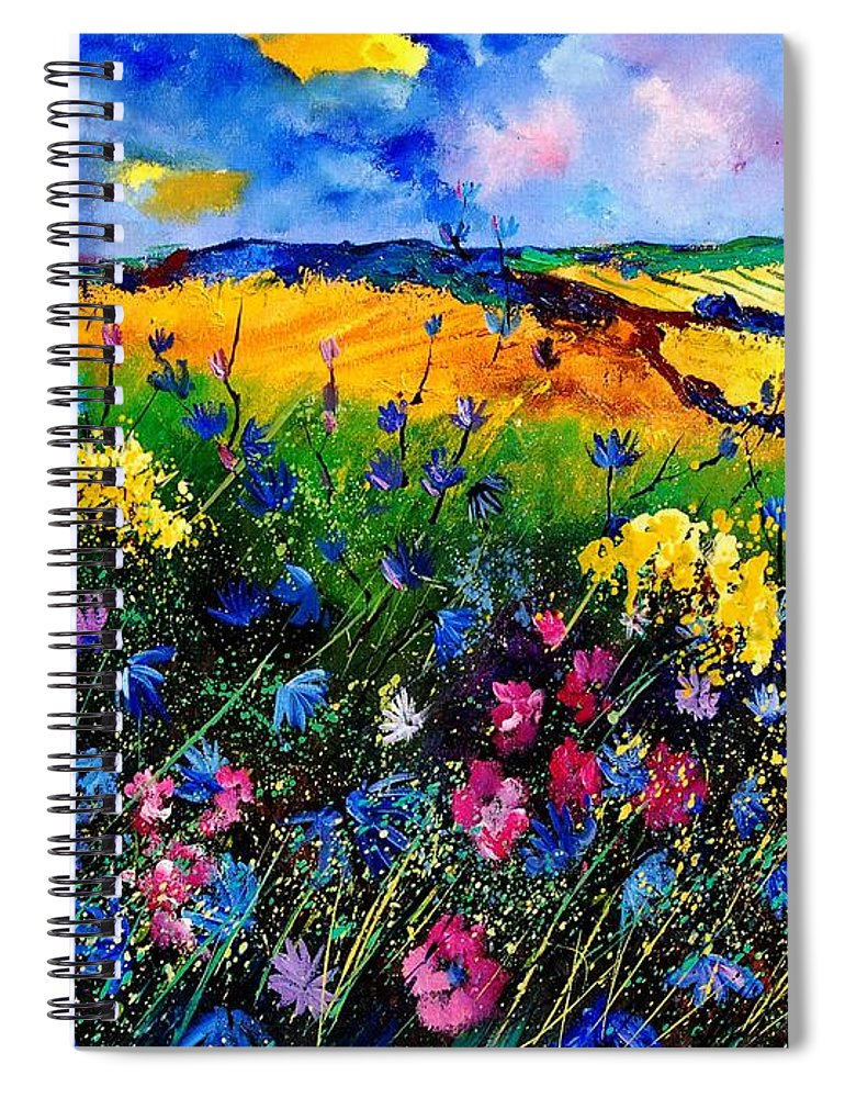 Flowers Spiral Notebook featuring the painting Cornflowers 680808 by Pol Ledent