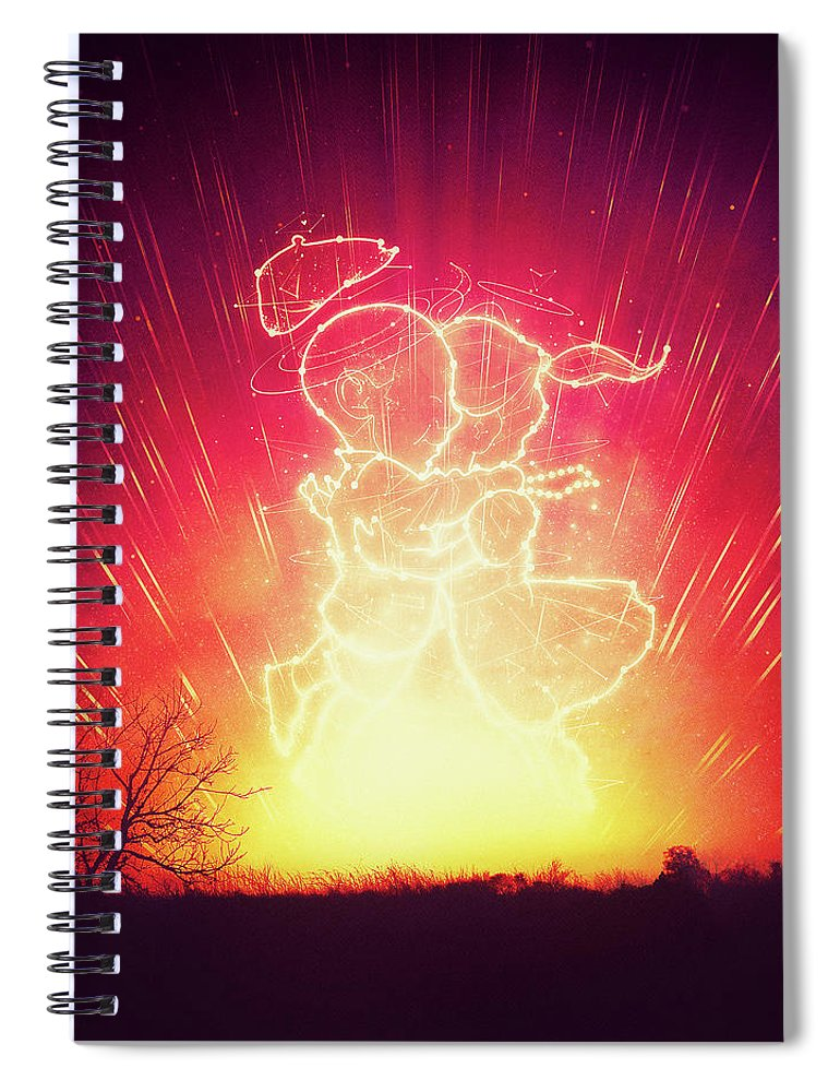 Astrology Spiral Notebook featuring the digital art Cosmo And Celeste Colorful Cosmological Night Sky Couple In Love by Philipp Rietz