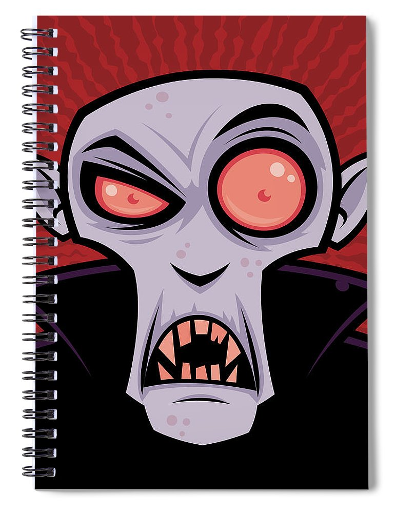 Dracula Spiral Notebook featuring the digital art Count Dracula by John Schwegel
