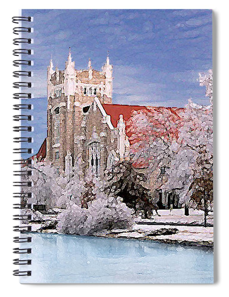 Winter Spiral Notebook featuring the photograph Country Club Christian Church by Steve Karol
