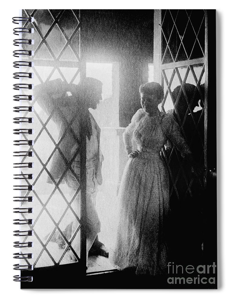 19th Century Spiral Notebook featuring the photograph Couple In Doorway by Granger
