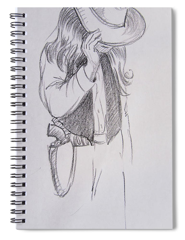 Male Spiral Notebook featuring the drawing Cowboy 3 by Markus Neal Humby