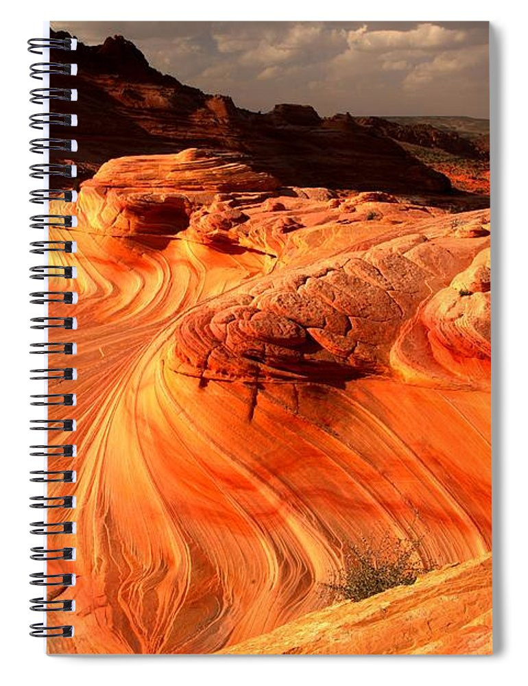 The Wave Spiral Notebook featuring the photograph Coyote Buttes Rainbow Dragon by Adam Jewell