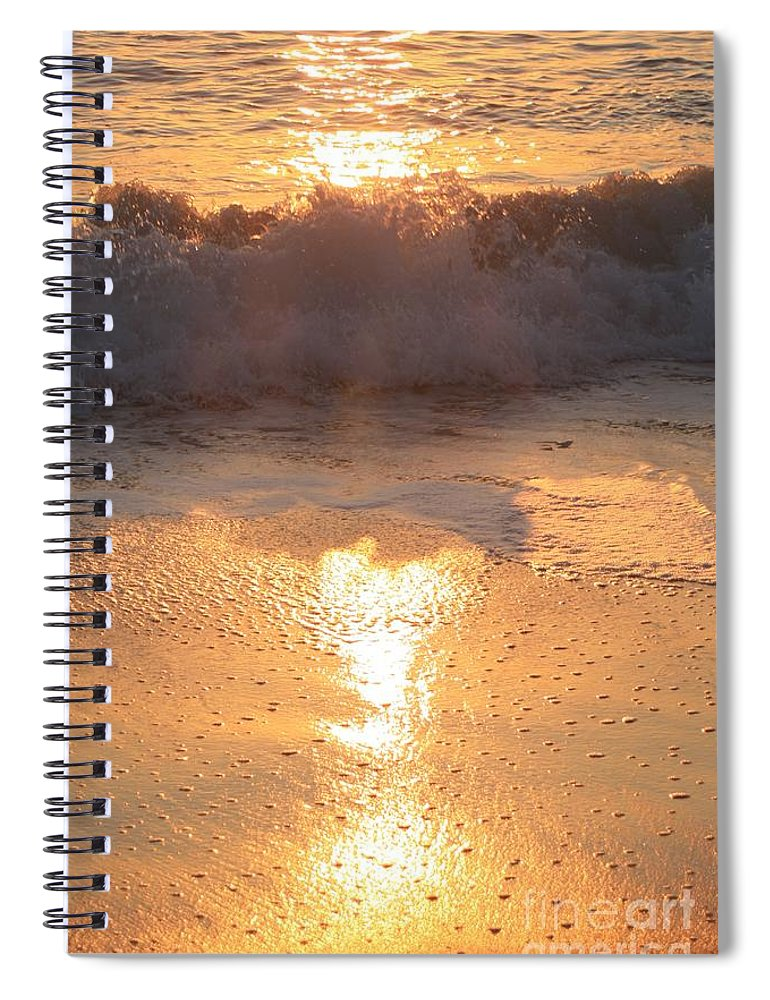 Waves Spiral Notebook featuring the photograph Crashing Wave at Sunrise by Nadine Rippelmeyer