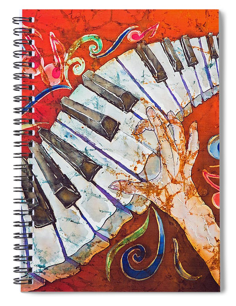 Piano Spiral Notebook featuring the tapestry - textile Crazy Fingers - Piano Keyboard by Sue Duda