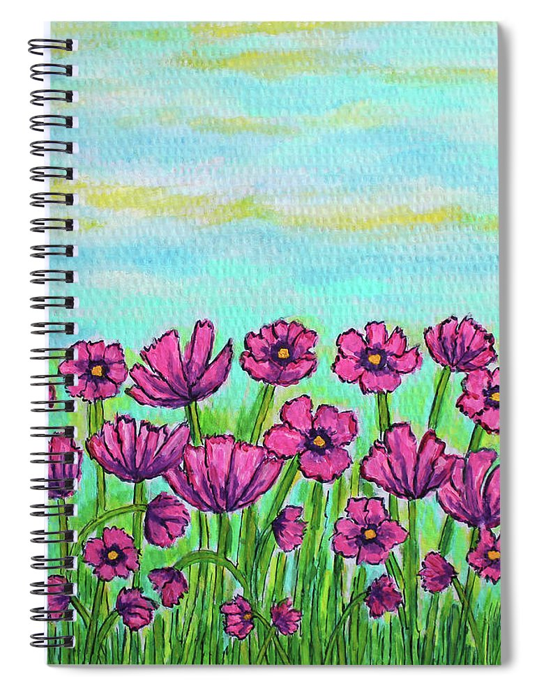 Cosmos Spiral Notebook featuring the painting Crazy for Cosmos by Lisa Lorenz