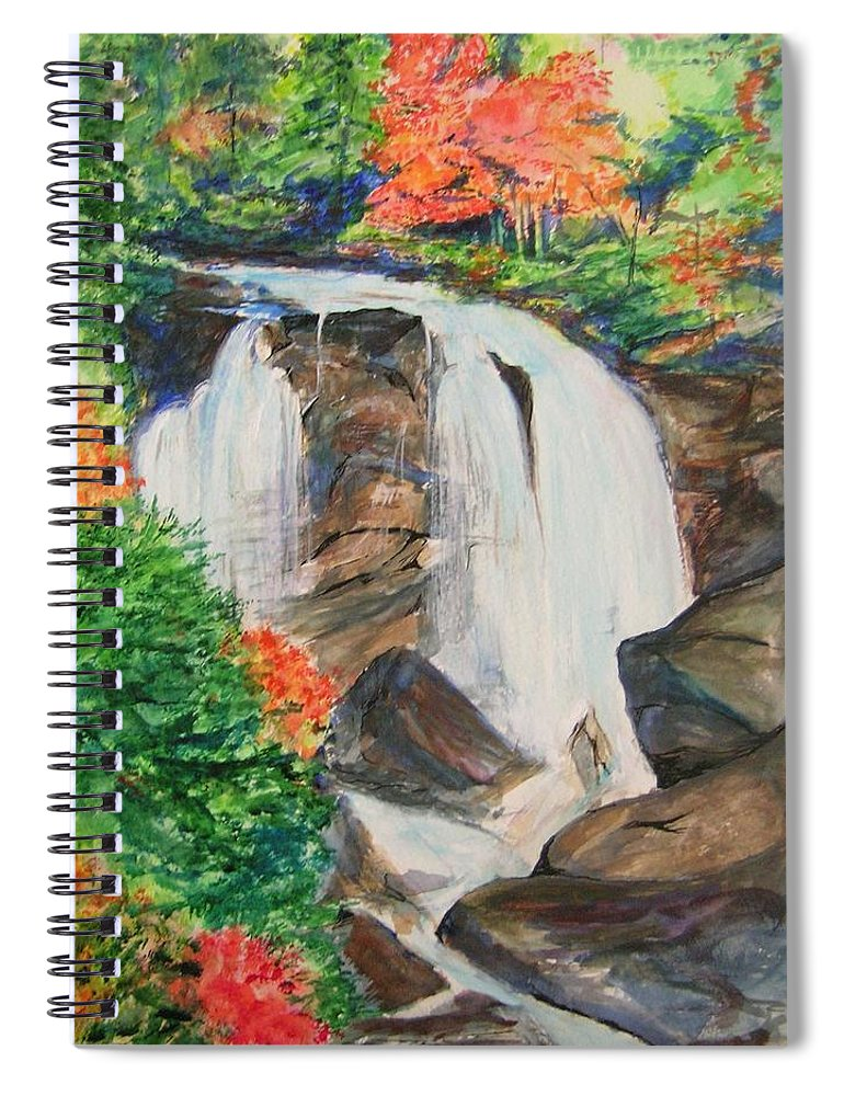 Creek Spiral Notebook featuring the painting Creek In Autumn by Lizzy Forrester