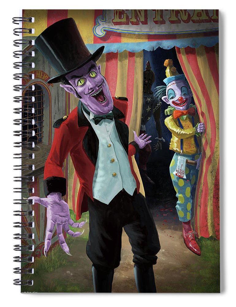 Circus Spiral Notebook featuring the painting Creepy Circus by Martin Davey