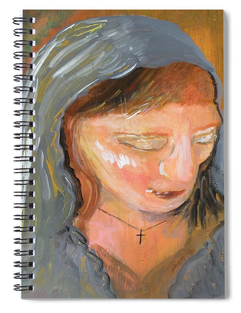 Angel Spiral Notebook featuring the painting Cross for Maria by J Bauer