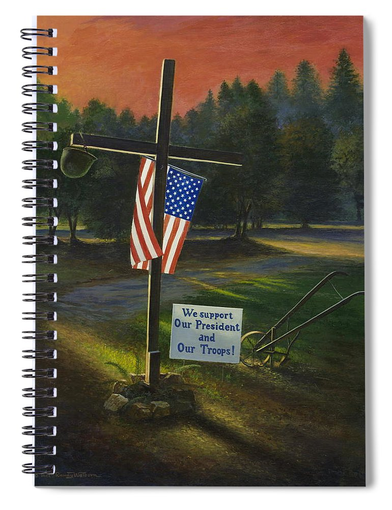 Cross Spiral Notebook featuring the painting Cross Of Remembrance by Randy Welborn
