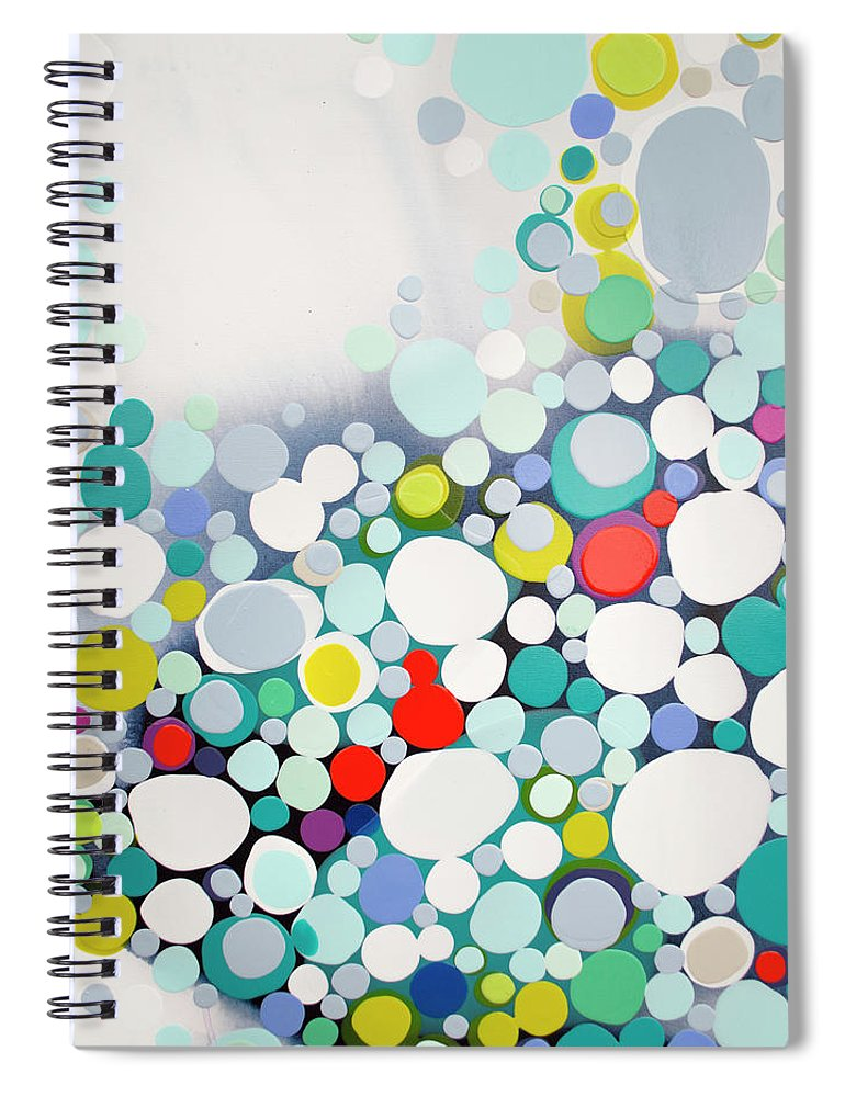 Abstract Spiral Notebook featuring the painting Cross The Line by Claire Desjardins
